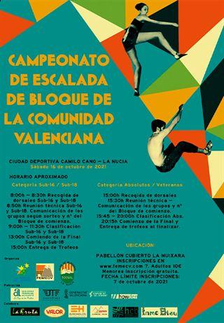 Campeonato de Escalada de Bloque de la Comunidad Valenciana, FEMECV 2021