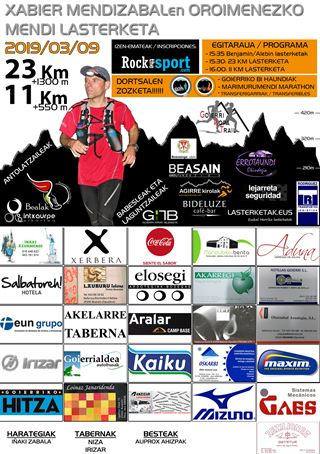 XABIER MENDIZABALEN OROIMENEZKO VIII. MENDI LASTERKETA (ARRIARAN) - 11 KM.