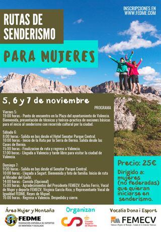 Rutas de senderismo para mujeres, Valencia, FEDME 2021
